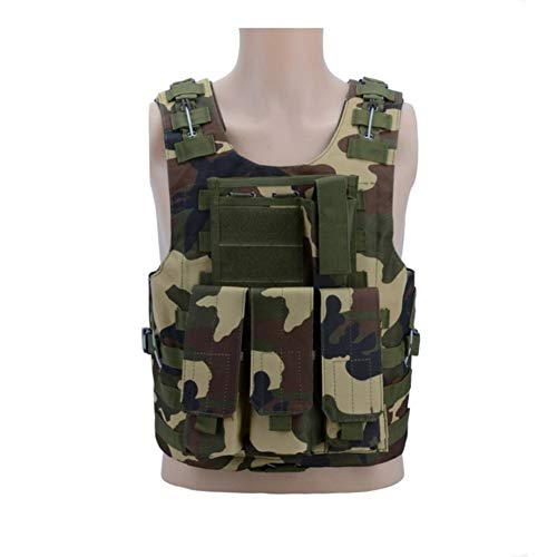 Taktische Weste Paintball Weste Kampftraining Weste, 600D Oxford wasserdichtes Gewebe Wasser Molle System Tactical Vest Spiele Schutzjacke Weste Tactical Vest (Color : Jungle camouflage)