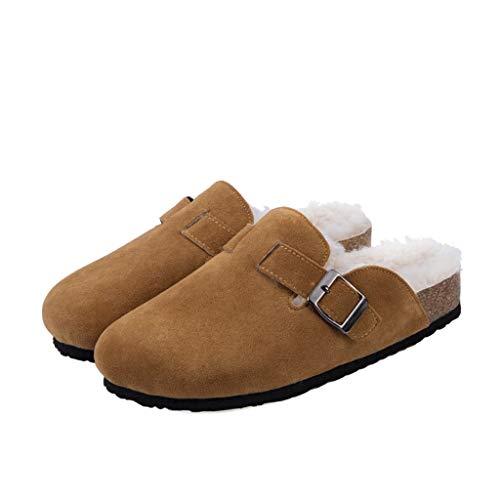 ZYING Zore Invierno Mujeres Faux Vaca de Gamuza Zapatillas de Cuero Largo Peluche cálido Interior Suave Corcho toboga Calzado Calzado para Mujeres Hombres (Size : 44)