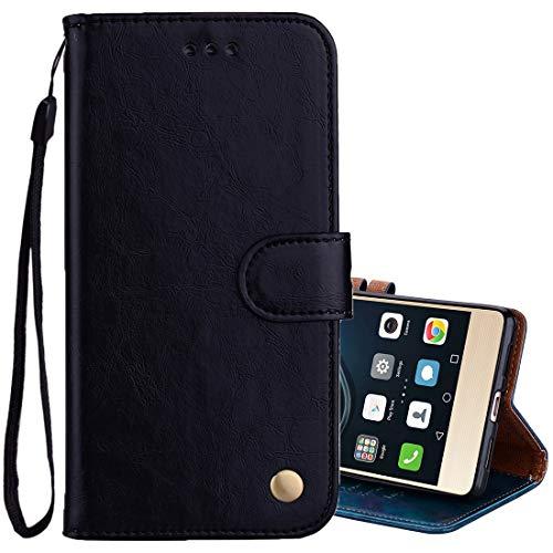 ZAORUN Cubiertas protectoras para celulares Compatible for Huawei P9 Lite Business Style textura de cera de aceite Horizontal Flip Funda de cuero con soporte y ranuras Compatible for tarjetas y billet