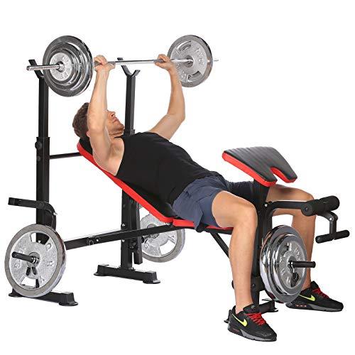 Aceshin Verstellbare Olympische Hantelbank mit Preacher-Curl- und Beintrainer, Trainingsgerät für Ganzkörpertraining, 150 kg