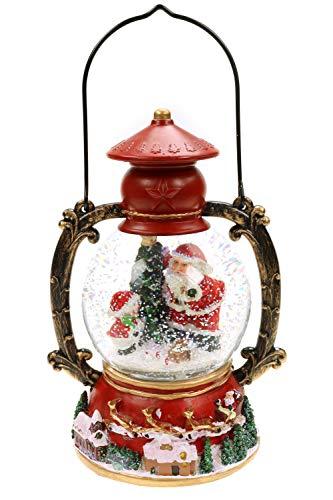 Creation Gross Schneekugel mit Spieluhr als rote Laterne, Licht & Glitzer, Schneewirbel H.: 21cm Ø100mm