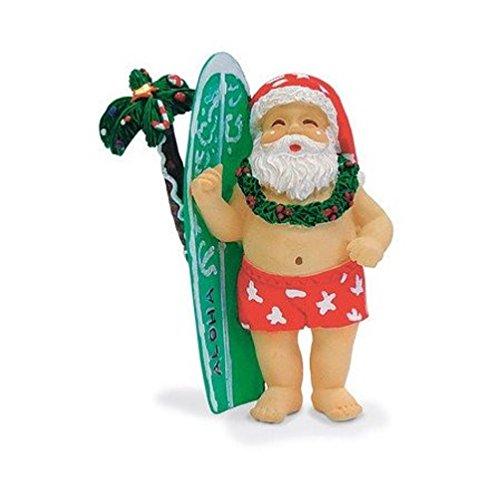 Island Heritage Hawaiian Surfing Santa & Surfboard Ornament