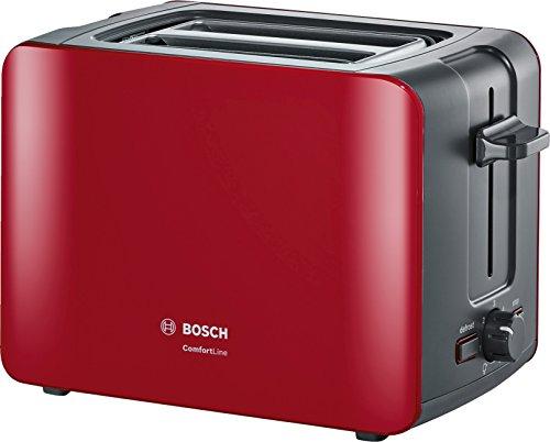 Bosch TAT6A114 ComfortLine Kompakt-Toaster, Auftaufunktion, automatische Brotzentrierung, Abschaltautomatik, 1090 W, rot