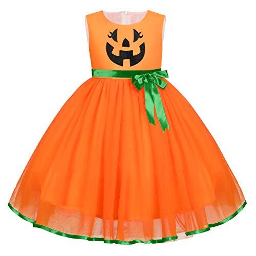 FYMNSI Déguisement d'Halloween pour bébé fille et enfant Fantôme citrouille A-ligne Tulle Princesse Carnaval Party Cosplay Déguisement pour 6 mois à 6 ans - Orange - 3-4 ans