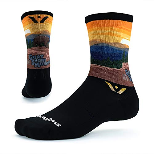 VISION SIX Impression, Parks Edition, Running and Cycling Socks (Great Smokey, Large)