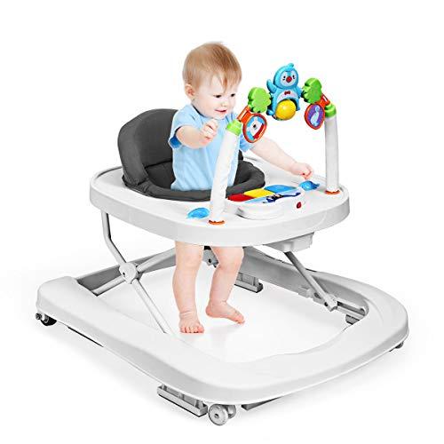 GOPLUS 2-in-1 Baby Lauflernhilfe, Baby Walker mit Spielbrett, Lauflernwagen 3-Stufig Höhenverstellbar, Laufwagen Klappbar zum Leichten Verstauen, Kippsicher, für Babys ab 6 bis 18 Monaten (Grau)