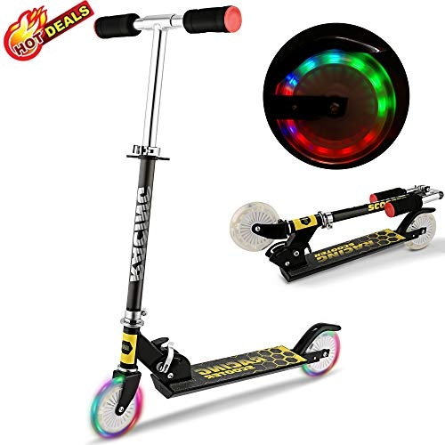 Scooter for Kids, Folding Scooters with LED Light Up 2 Wheels, Adjustable Height, Rear Fender, Kick Scooters for Girls Boys Toddler Ages 3-12 Years, Bearing Capacity 110lb