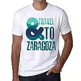 Hombre Camiseta Vintage T-Shirt Gráfico and Travel To Zaragoza Blanco