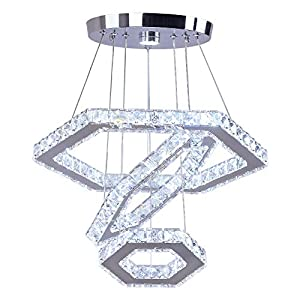 Cainjiazh Modern Crystal Chandeliers Big 3 Rings Led Contemporary Ceiling Lighting Adjustable Stainless Steel Hanging Pendant Light for Bedroom Living Room Dining Room (Cool White)