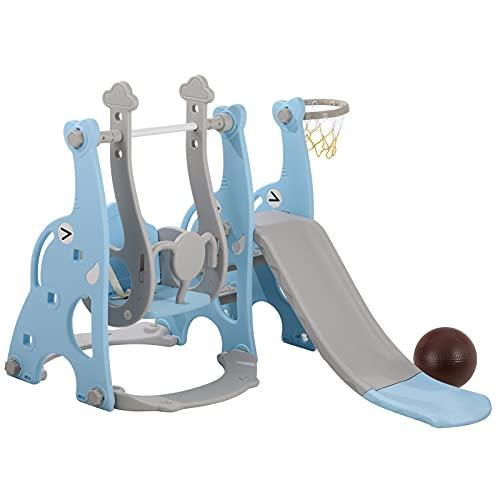 Set da arrampicata e altalena 4 in 1 con scivolo extra lungo Set di scivoli per arrampicata su roccia per bambini con supporto da basket Set di scivoli per bambini per interni ed esterni (blu)