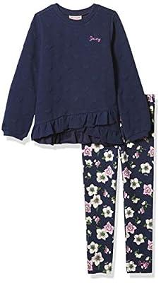 Juicy Couture Girls' 2 Pieces Leggings Set, Navy Print, 3T