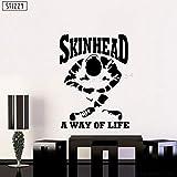 yaoxingfu Wandtattoo Skinhead A Way of Life Spruch Wandaufkleber Kunstwand Haut Kreative...