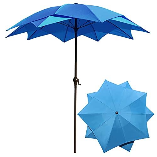 Y&J Protección Solar Sombrilla Exterior, 2,5 M Paraguas Decorativo Doble Capa, Parasol Jardin Lotus con Manivela, Azul/Verde