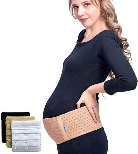 Luamex® Schwangerschaftsgürtel - Bauchband Schwangerschaft - Schwangerschaftsgurt - Bauchstütze atmungsaktiv - Bauchgurt Schwangerschaft - Umstandsmode - Schwanger - eBook- BH-Extender (Beige)