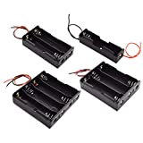 SDTC Tech 8-Pack 18650 Battery Holder with Wire Leads 1/2/3/4 x 3.7V Series Circuit Black Plastic Battery Case Kit (2 Per Size)