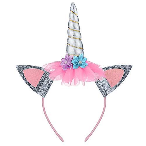 Diadema de cuerno, orejas, accesorio para fotos, disfraz de cumpleaos, mejillas, cuerno con purpurina, flores, accesorio para decoracin de fiestas, disfraz de cosplay (plata)