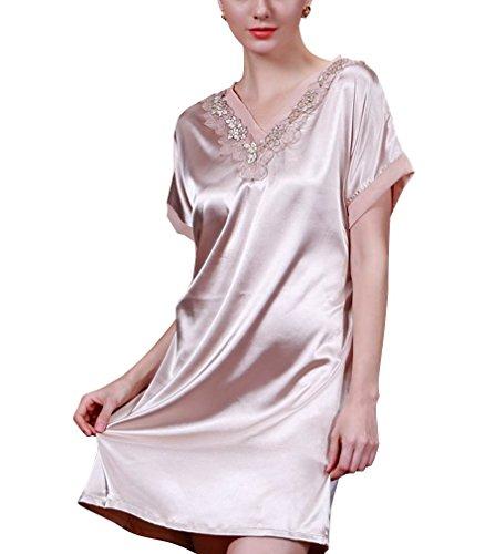 BININBOX Damen Sexy Elegant Nachthemd mit Kurzarm aus Seide Silk Nachtkleid Nachtwäsche mit Spagetti-Trägern Sexy Negligee in 3 Farben (Kamel)