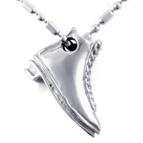 JewelryWe Bijoux Pendentif Collier Homme Chaussure Acier Inoxydable Fantaisie Couleur Argent Longueur 55cm avec Sac Cadeau