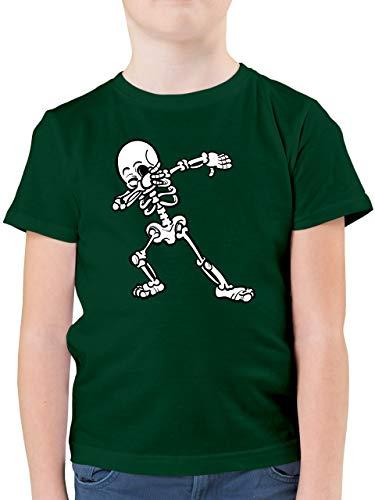 Halloween Kind - Dabbing Skelett - 152 (12/13 Jahre) - Tannengrün - t-Shirt Kinder cool - F130K - Kinder Tshirts und T-Shirt für Jungen