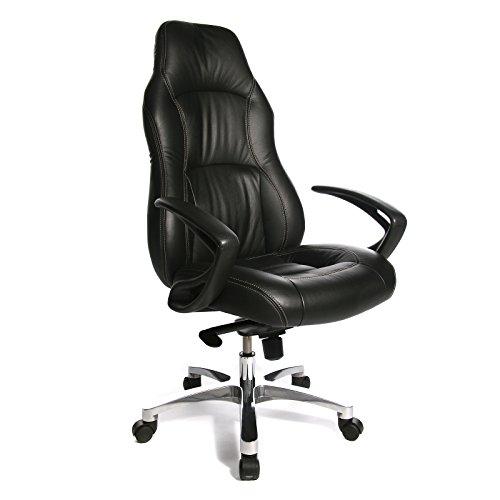 Topstar RS1 – Chefsessel in feinem Leder - mit Sportsitzcharakter - schwarz - Bürodrehstuhl Chefstuhl Chefstühle Drehstuhl Lederstuhl Lederstühle