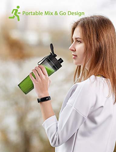 homgeek Batidora de Vaso Portatil, Mini Licuadora Portatil 300W para Smoothies,Frutas y Verduras, Licuadora Smoothies con 1 x 500 ml Botella de Portátil, Sin BPA, 25,000 U/Min