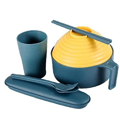 1 Conjunto De Paja De Trigo Ensaladera Fideos Instantáneos Soup Bowl Menaje del Hogar con Tapa Palillos Cuchara