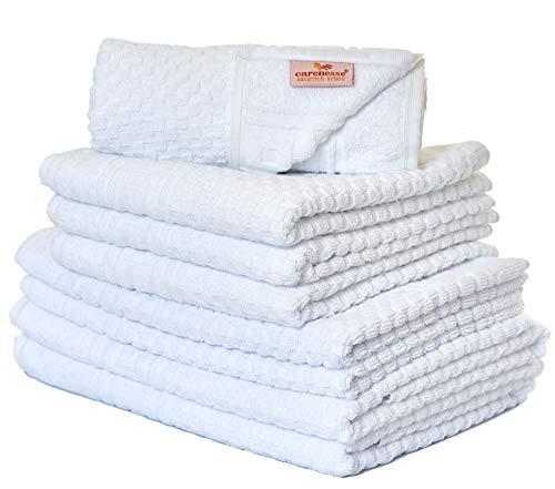 Carenesse Handtuch-Set 8 tlg, Waffelmuster weiß, 2x Duschtuch, 4x Handtuch, 2x Badvorleger, weiß, Premium Qualität, Saugstark & Strapazierfähig, 100% Baumwolle, Badetuch, Duschhandtuch, Frottierwäsche
