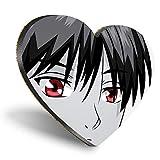 Posavasos con forma de corazón de MDF, diseño de manga anime y hombre, japonés, con calidad brillante, protección de mesa para cualquier tipo de mesa #45668