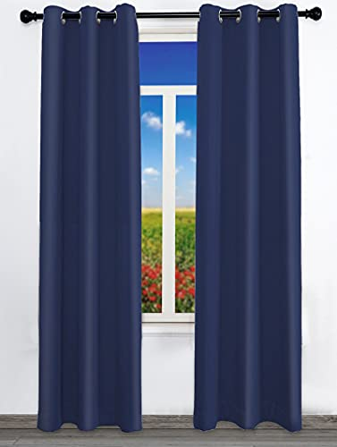 Curtains for Living Room 2 Panels Set 96 inch Length Blackout Room Darkening Long Bedroom Curtains with 6 Grommets Navy Blue Thermal Insulated Curtains for Windows