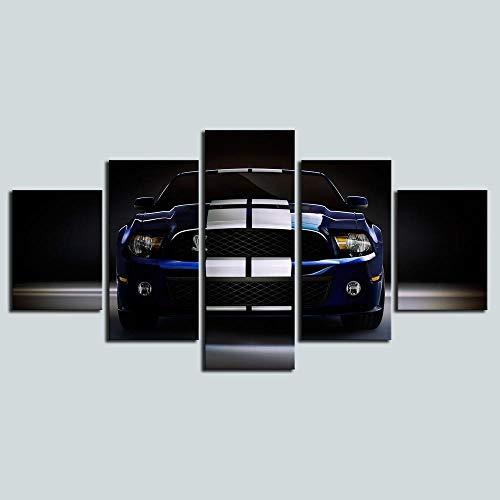 hgjfg Cuadro sobre Impresión Lienzo 5 Piezas Listo para Colgar un Marco Mustang GT500 Super Serpiente Músculo HD Arte De Pared Modulares Sala De Estar Dormitorios Decoración para El Hogar Póster