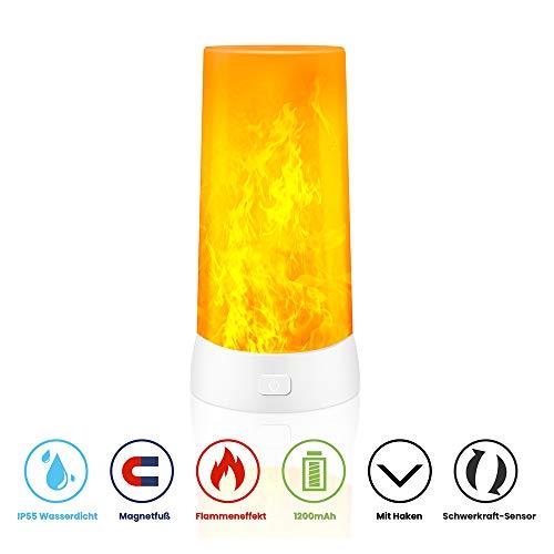 ERWEY Flamme Lampe USB-Flamme Licht Tragbare USB Wiederaufladbar Tischleuchte IP55 Wasserdicht mit Magnetischer Basis Flackernde Flamme LED Nachtlichter Tischlampen (1x Flamme Tischlampe)