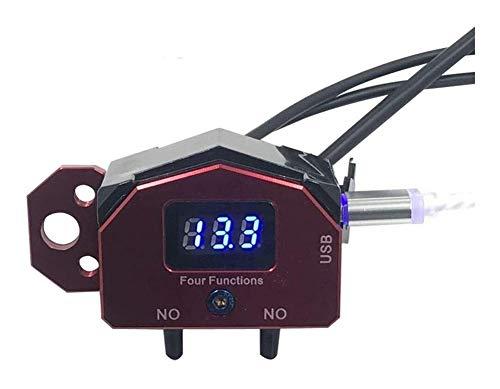 Manillar de Moto Manillar de la Motocicleta 4 en 1 de Control ON-Off Interruptor de botón con el Voltaje Displayer USB Cargador for teléfono Celular Móviles (Color : Red)