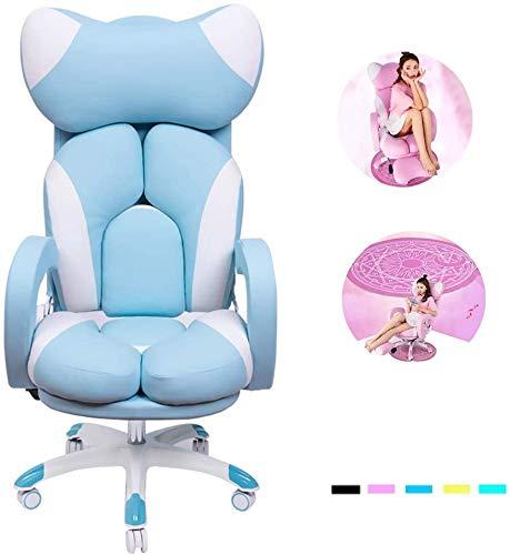 ZOUSHUAIDEDIAN Rosa Gaming Chair Cuero de la PU de Alta Back Office Racing ergonómico sillas de Escritorio de Ordenador con Soporte Lumbar, Presidente Juego Lindo