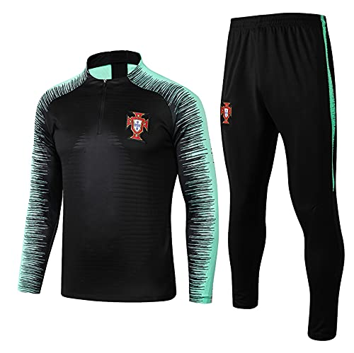 WJWA Portugal - Costumes de Entrenamiento de Manga Larga para fútbol, Uniforme de Media Cremallera (Photo Color, S)