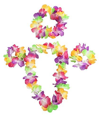 24 lot de 4 pièces lei hawaïen mis accessoire de déguisements. guirlande de fleurs fleur 24x 42cm collier + 24x floral bandeau + 48x bracelets multicolores