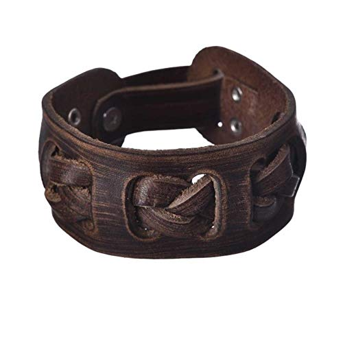 ASIG Vintage Echt Leer Brede Manchet Heren Armband Punk Hiphop Ornament Bangle Man Polsband