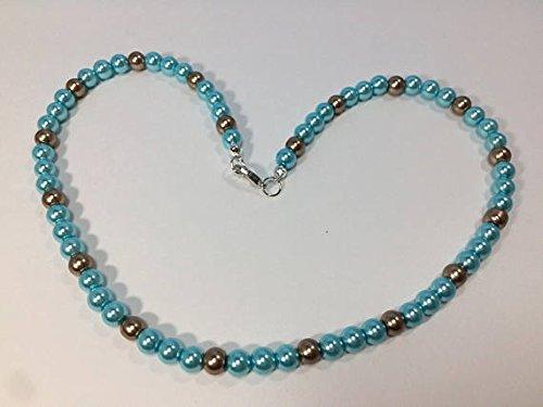 World Wide Gems Joya para novia de plata de ley 925 de 4 a 5 mm, collar redondo de perlas azules y doradas, suave de 16 pulgadas para hombres, mujeres, gf, bf y adultos.