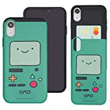 Compatible with iPhone XR Case Adventure Time Slim Slider Card Slot Dual Layer Holder Bumper Cover - Beemo (BMO)
