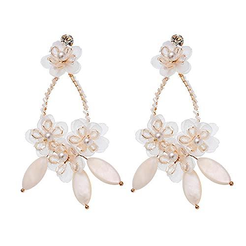 Pendientes de flor de concha hechos a mano joyería de boda nupcial de moda de temperamento de lujo ligero