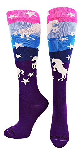 MadSportsStuff Neon Unicorn Over The Calf Socks (Neon Pink/Blue/Purple, Small)