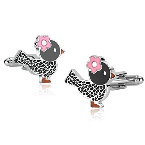 AnazoZ Gemelos para Camisa Gemelos Camisa Acero Inoxidable Pájaro con Flor Gemelos para Camisa Plata Negro Gemelos Camisa Hombre