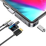 iPad Pro USB C Hub, iPad Pro Docking Station, Baseus 6-in-1 Aluminum iPad Pro Dongle USB Type-C Adapter with 4K HDMI, USB-C PD Charging, SD/Micro Card Reader, USB 3.0 & 3.5mm Headphone Jack