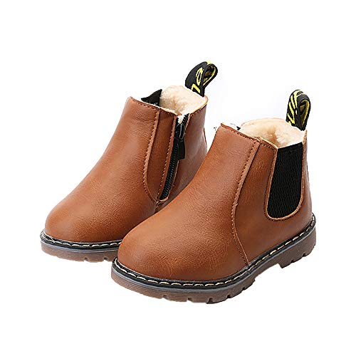 EsTong Baby Fur Lined Leather Boots Anti-Slip Winter Snow Booties for Toddler Boys Girls Brown 21: 12-18 Months