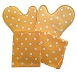Guantes para horno de cocina y paños de cocina, juego de altas temperaturas, doble guante para casa con relleno antiquemaduras y calor forma profesional (juego de 4 unidades de poins amarillo)