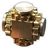 Amperer Pure Brass Fidget Block Fidget Cube Gears Linkage Cubes Ultra Durable Mechanics Romoveable EDC Toy (Brass)