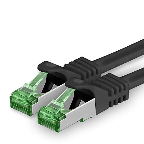 Cat7 Cable de Red Ethernet LAN 2m - Negro - 1 Pieza - Sftp Pimf Lszh - 10 GB s RJ45 Connectores Cat6a Compatible con Cat5 Cat6 Cat7a Cat8