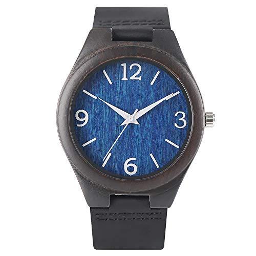 IOMLOP Reloj de Madera Relojes Reloj de Madera de Cuarzo para Hombres Mujeres Reloj de Esfera Azul Negro Cómodo Reloj de Pulsera con Banda de Cuero, 2
