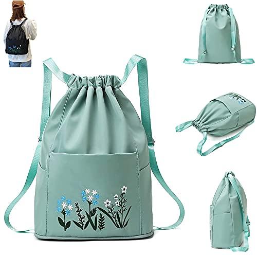Multifunctional Fitness Travel Bag,Fashion Women Travel Bag Waterproof Gym Bag Sports Bag Foldable Drawstring Bag Embroidery Design For Swimming Backpack (Green)