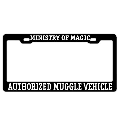 FunnyLpopoiamef Ministry of Magic Authorized Muggle Vehicle Black License Plate Frame License Plate Cover Humor Car Tag Frame 2 Holes and Screws
