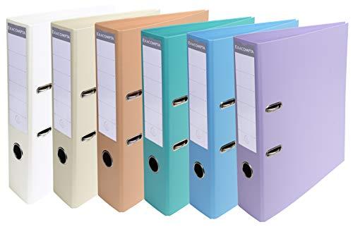 Exacompta - Réf. 53084E - Carton de 10 classeurs à levier PVC A4 dos de 70mm - Couleurs assorties pastel